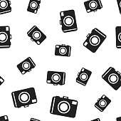 Camera seamless pattern background. Business flat vector illustration. Photocamera symbol pattern.