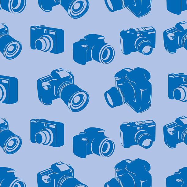 Camera seamless tile pattern vector art illustration