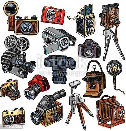 Old mechanical film and automatic modern digital reflex cameras icons collection abstract color doodle sketch vector illustration