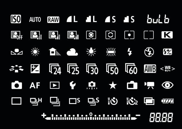 Camera settings symbols vector art illustration