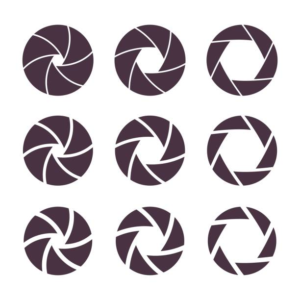 Camera shutter aperture icons Camera shutter apperture icons set. Photography symbols, different focus settings for photo, vector illustration. aperture stock illustrations