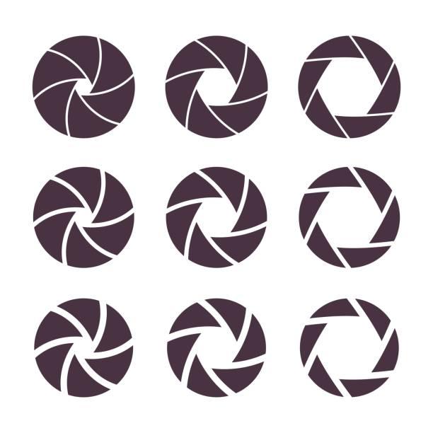 Caméra volets icônes d'ouverture du diaphragme - Illustration vectorielle