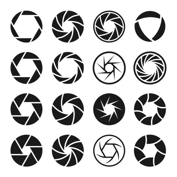 Camera shutter icon set, photo and video equipment Camera shutter icon set, photo and video equipment. Professional photographer device. Vector line art illustration isolated on white background aperture stock illustrations