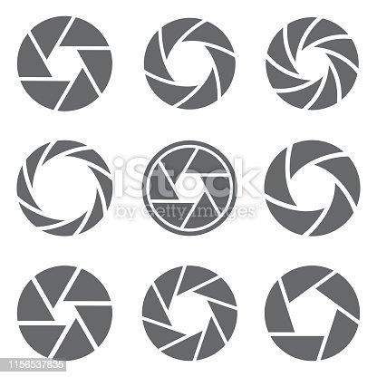 Camera shutter icons set. Vector illustration