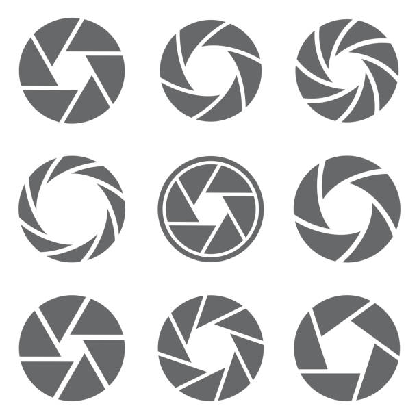 Camera shutter icons set. Vector Camera shutter icons set. Vector illustration aperture stock illustrations