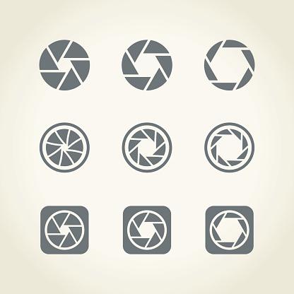 Camera shutter icons,vector illustration.