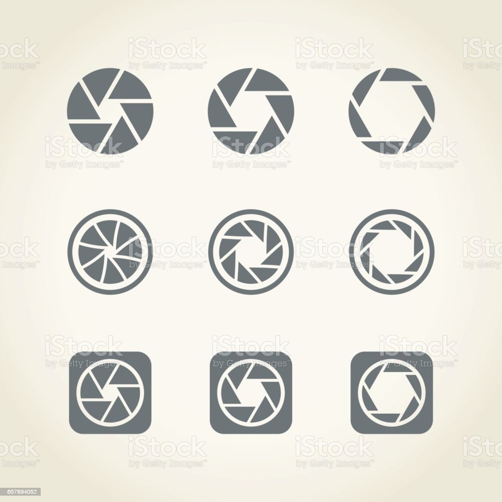camera shutter icons vector art illustration