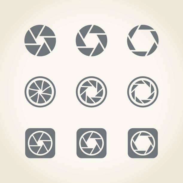 camera shutter icons Camera shutter icons,vector illustration. aperture stock illustrations