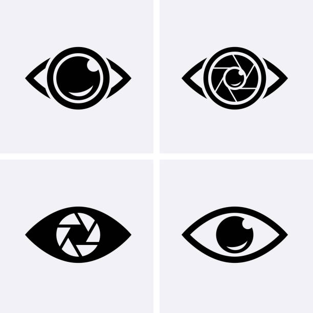 Camera Shutter, Lenses and Photo Camera Icons set. Camera Shutter, Lenses and Photo Camera Icons set. Photography logo, camera icon Vector image focus technique stock illustrations