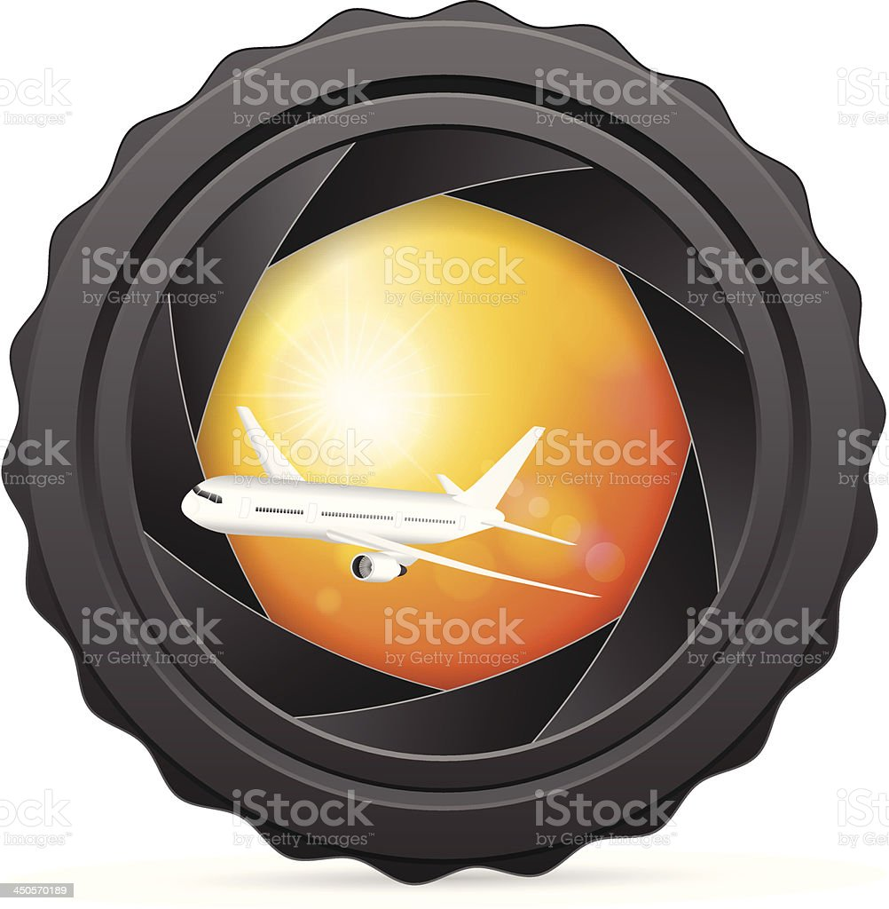 camera shutter with airplane royalty-free stock vector art