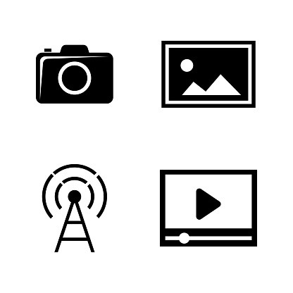 DSLR camera. Simple Related Vector Icons