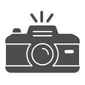 Camera solid icon. Professional photocamera with flash. Festive Event and Show vector design concept, glyph style pictogram on white background, use for web and app. Eps 10