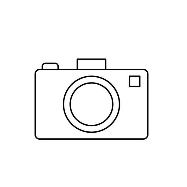 Camera  Summer icon Thin Line Style vector art illustration