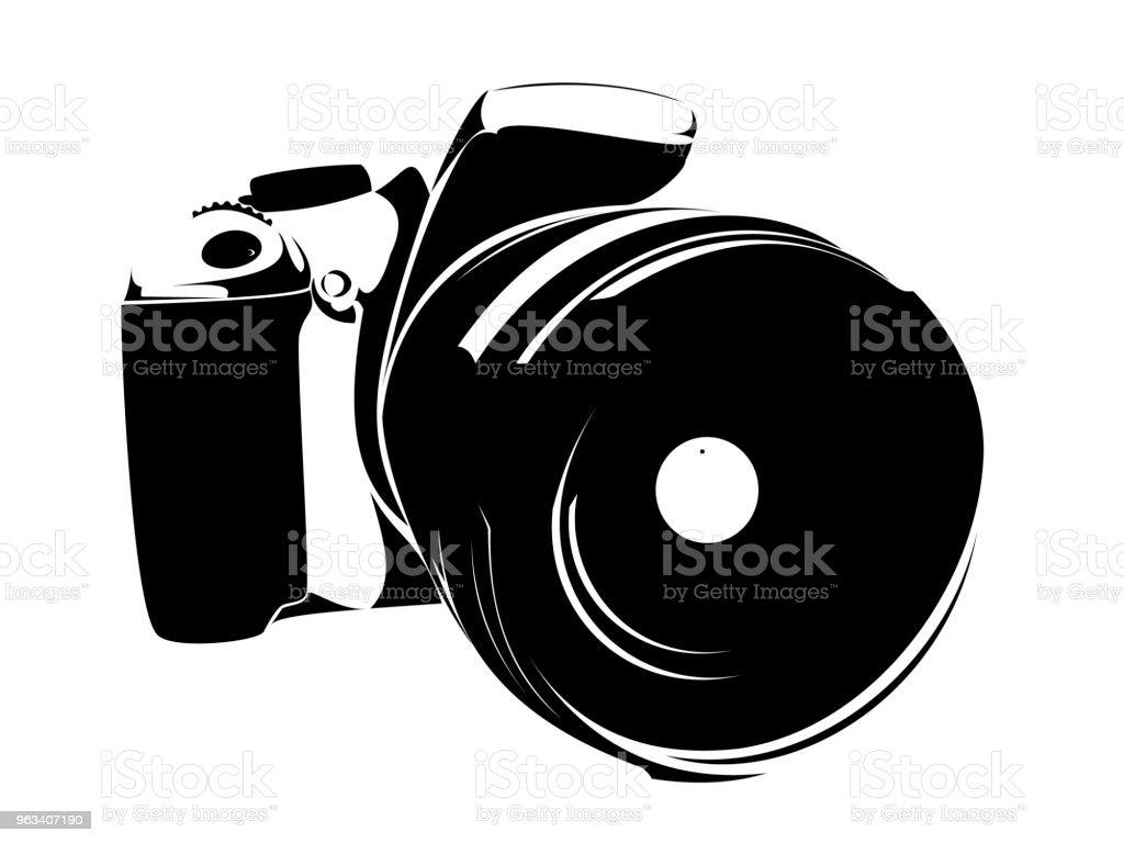 Lustrzanka, symbol czarny na białym tle - Grafika wektorowa royalty-free (Aparat fotograficzny)