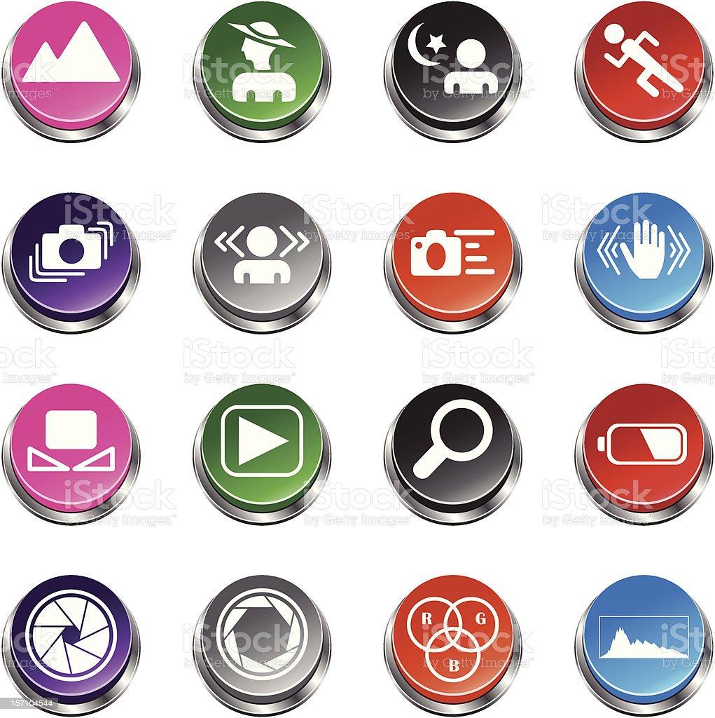 SLR camera symbols set 2 - 3D Push Button Series royalty-free stock vector art