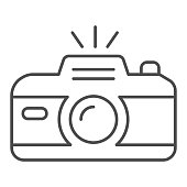 Camera thin line icon. Professional photocamera with flash. Festive Event and Show vector design concept, outline style pictogram on white background, use for web and app. Eps 10