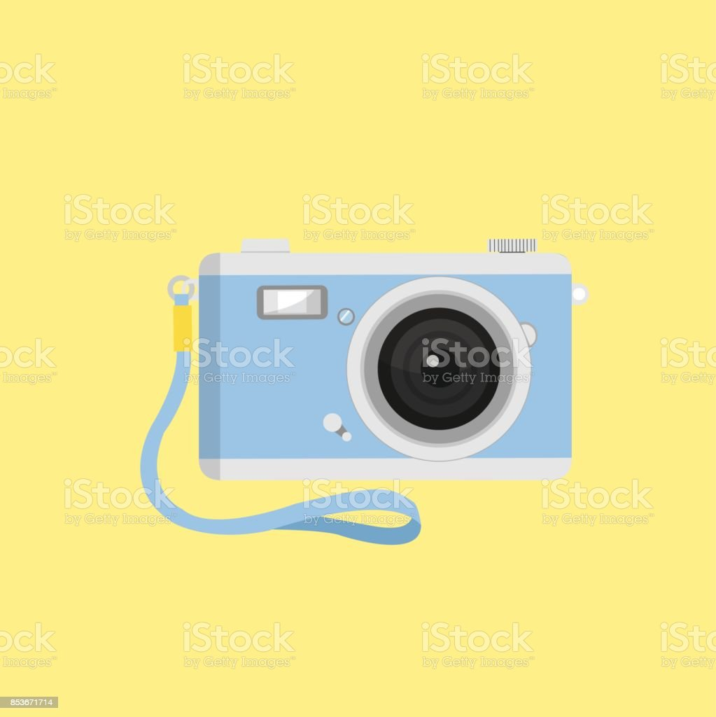 camera vector with strap vector art illustration