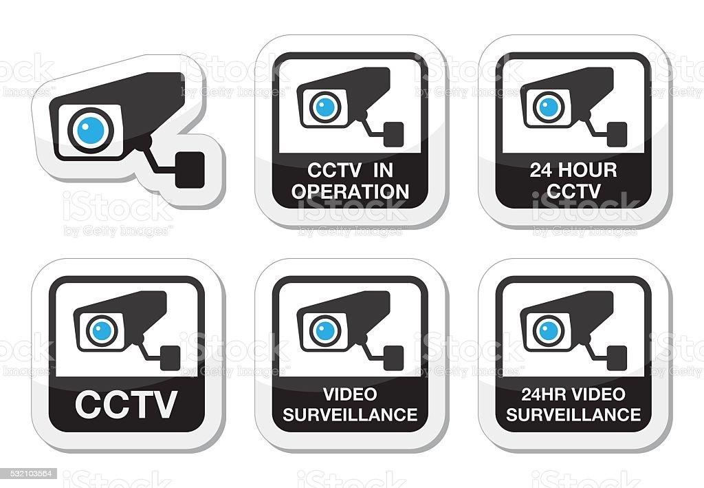 CCTV camera, Video surveillance icons set vector art illustration