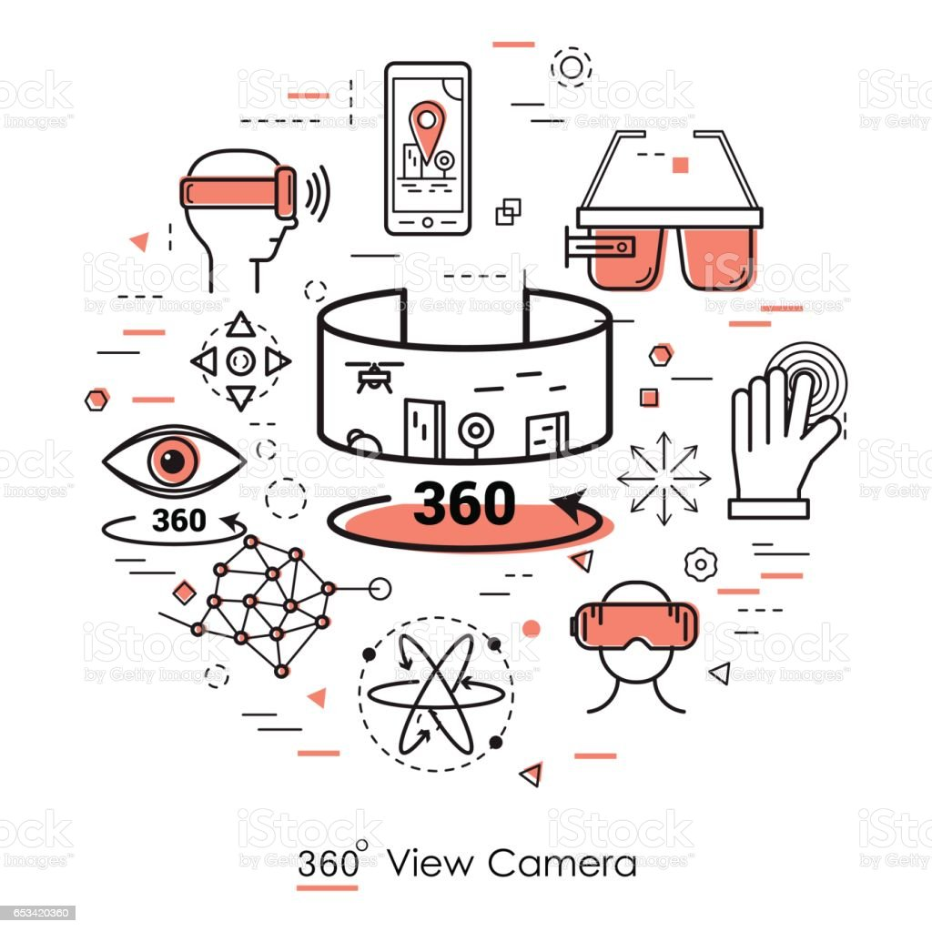Kameraansicht 360 - Strichzeichnungen – Vektorgrafik