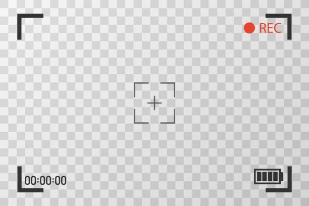 ilustrações de stock, clip art, desenhos animados e ícones de camera view viewing images. visual screen focusing. video recording screen on a transparent background. - visor digital