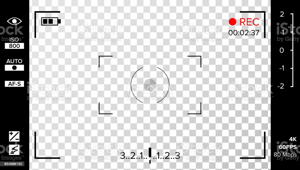 Camera Viewfinder Vector. Photo Or Video Camera Grid With Shooting Settings And Options On Screen. Recording Led Blinked. Realistic Corner Fall Off Background royalty-free camera viewfinder vector photo or video camera grid with shooting settings and options on screen recording led blinked realistic corner fall off background stock illustration - download image now
