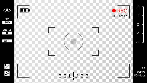 Vecteur de viseur de caméra. Photo ou caméra vidéo grille avec les paramètres de prise de vue et des Options sur l'écran. Enregistrement Led cligna des yeux. Chute de coin réaliste hors contexte - Illustration vectorielle