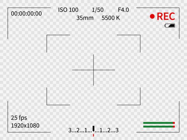 ilustrações de stock, clip art, desenhos animados e ícones de camera viewfinder. viewer focus frame record cameras video lens looking photos digital display finder capture view zoom, vector design - visor digital