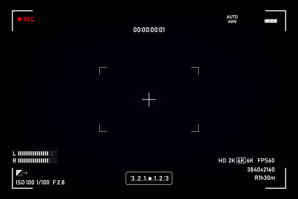 Camera viewfinder. Viewfinder camera recording. Video screen on a black background. vector illustration Camera viewfinder. Viewfinder camera recording. Video screen on a black background. vector illustration projection screen stock illustrations