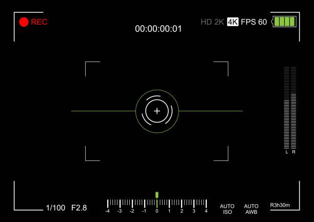 ilustrações de stock, clip art, desenhos animados e ícones de camera viewfinder. viewfinder camera recording. video screen on a black background. vector illustration - visor digital