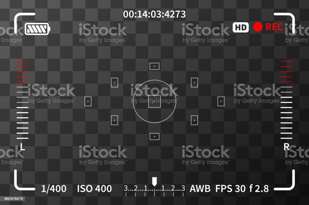 Camera viewfinder with iso, battery and audio levels marks on transparent background royalty-free camera viewfinder with iso battery and audio levels marks on transparent background stock illustration - download image now