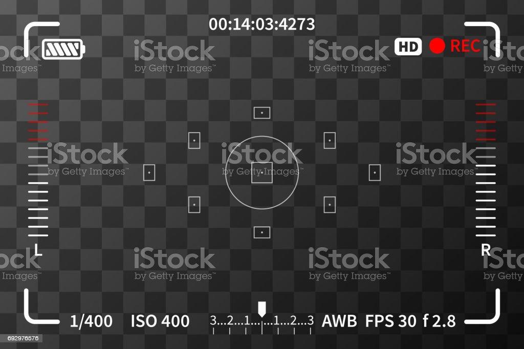 Viseur de l'appareil avec des marques niveaux iso, batterie et audio sur fond transparent - Illustration vectorielle
