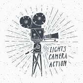 Camera vintage label, Hand drawn sketch, grunge textured retro badge, typography design t-shirt print, vector illustration