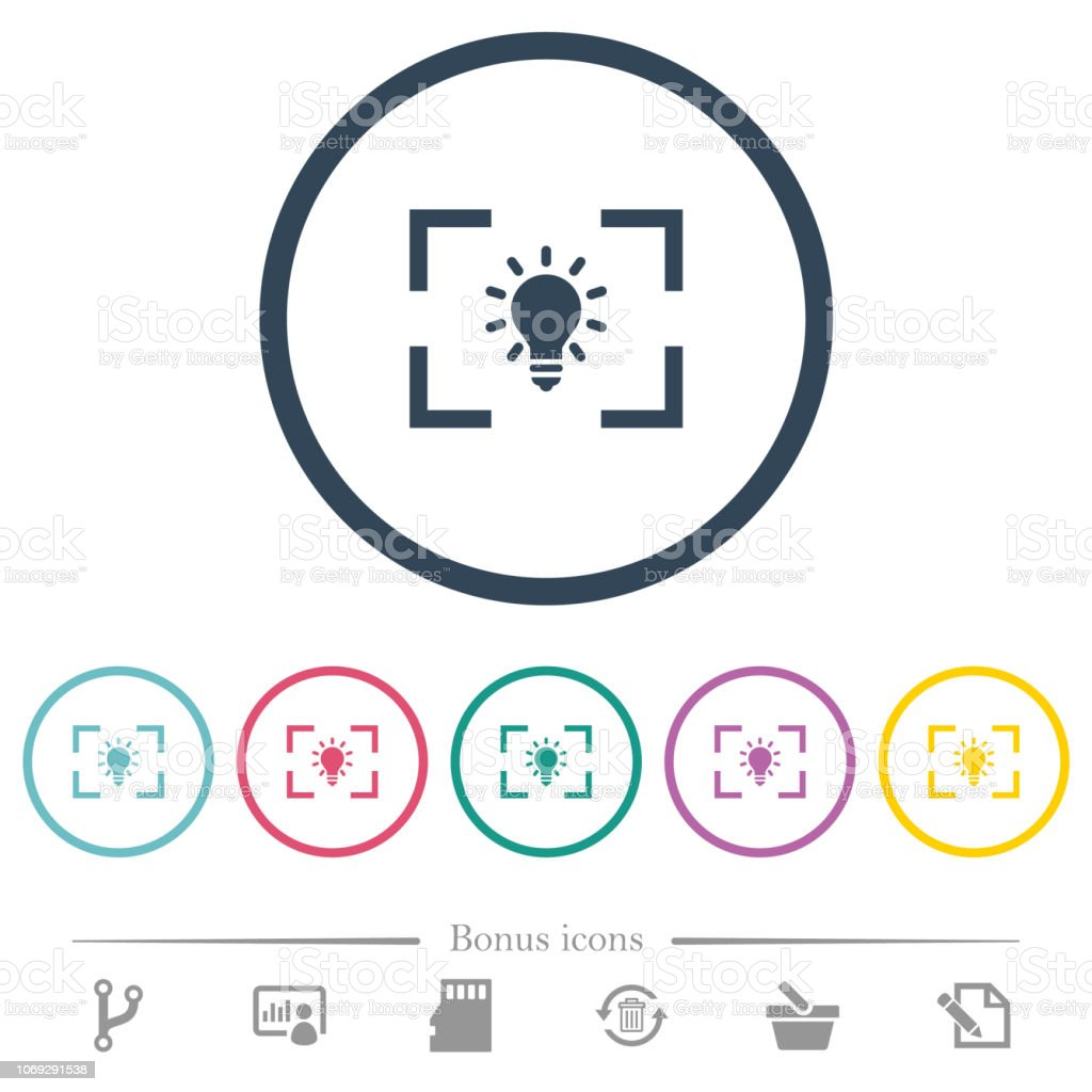 Camera white balance tungsten mode flat color icons in round outlines
