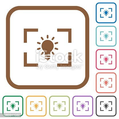 Camera white balance tungsten mode simple icons in color rounded square frames on white background