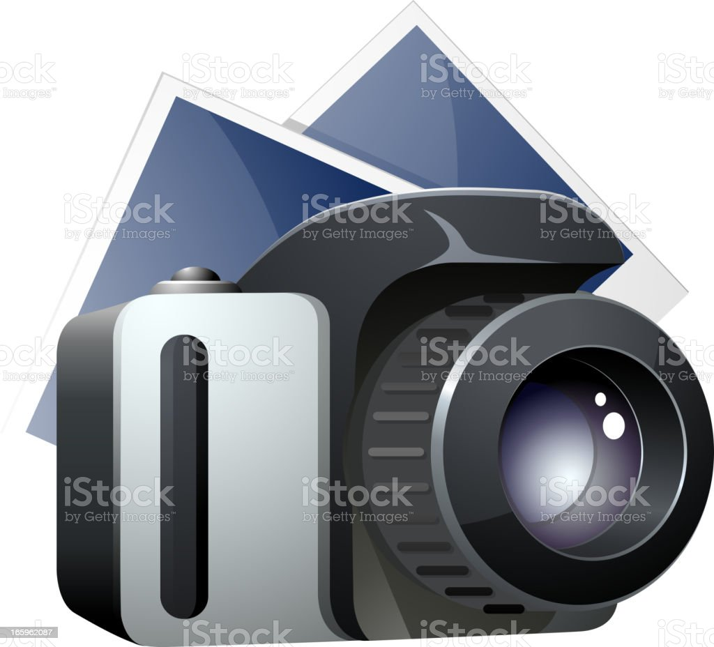 SLR camera with photo sheets royalty-free stock vector art