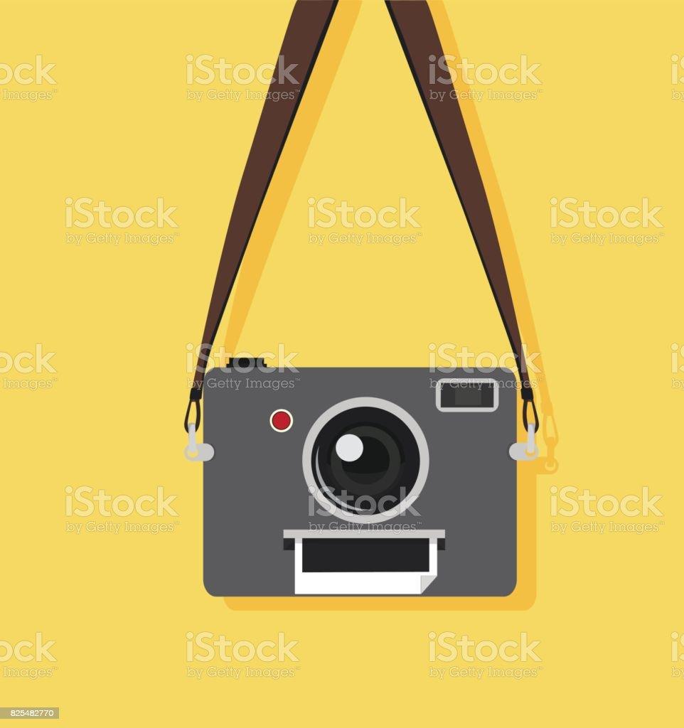 camera with strap vector art illustration