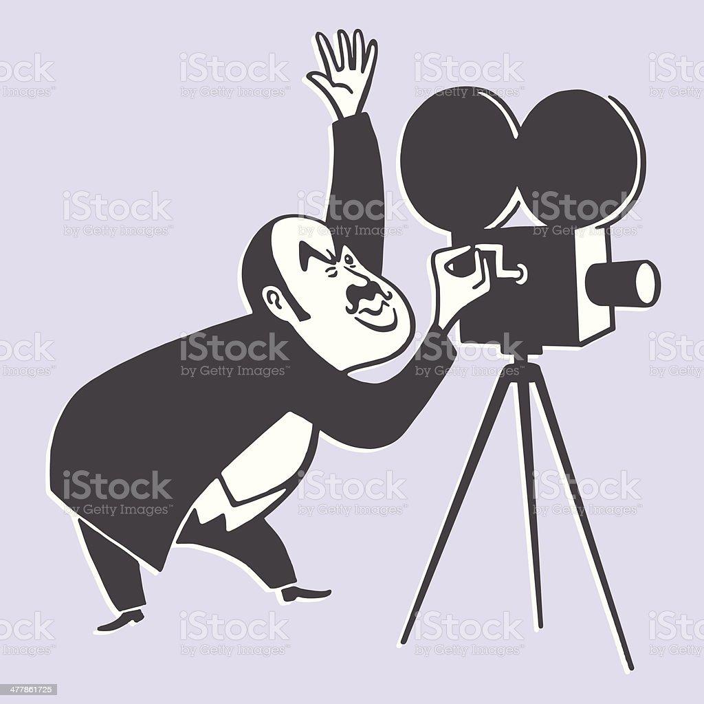 Cameraman and a Movie Camera vector art illustration