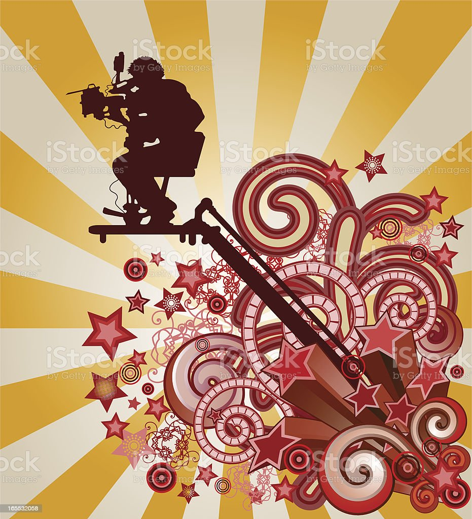 cameraman and shooting stars vector art illustration
