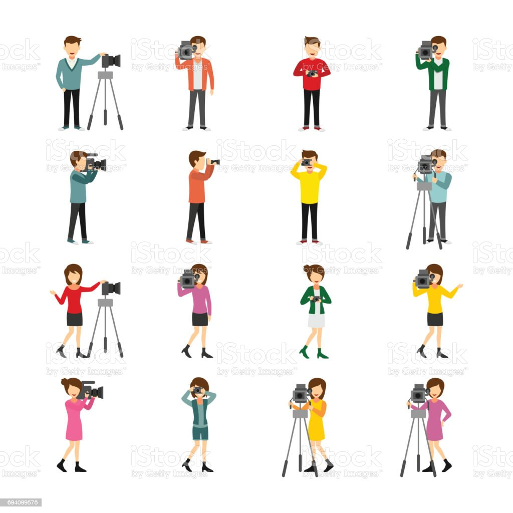 Cameraman Character vector art illustration