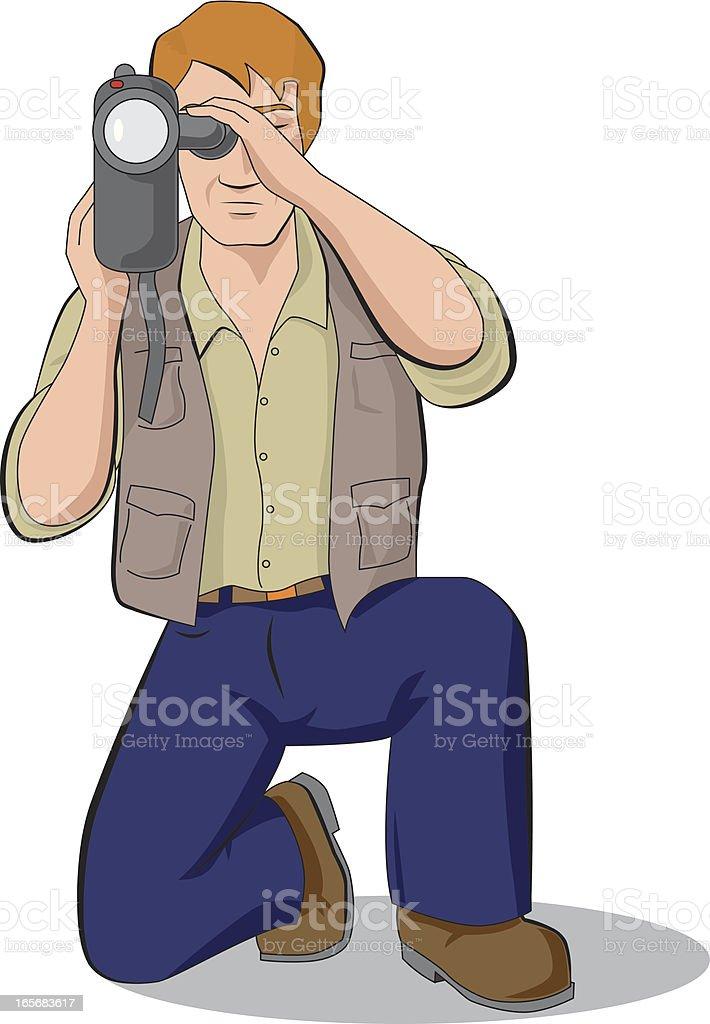 cameraman reporter vector art illustration