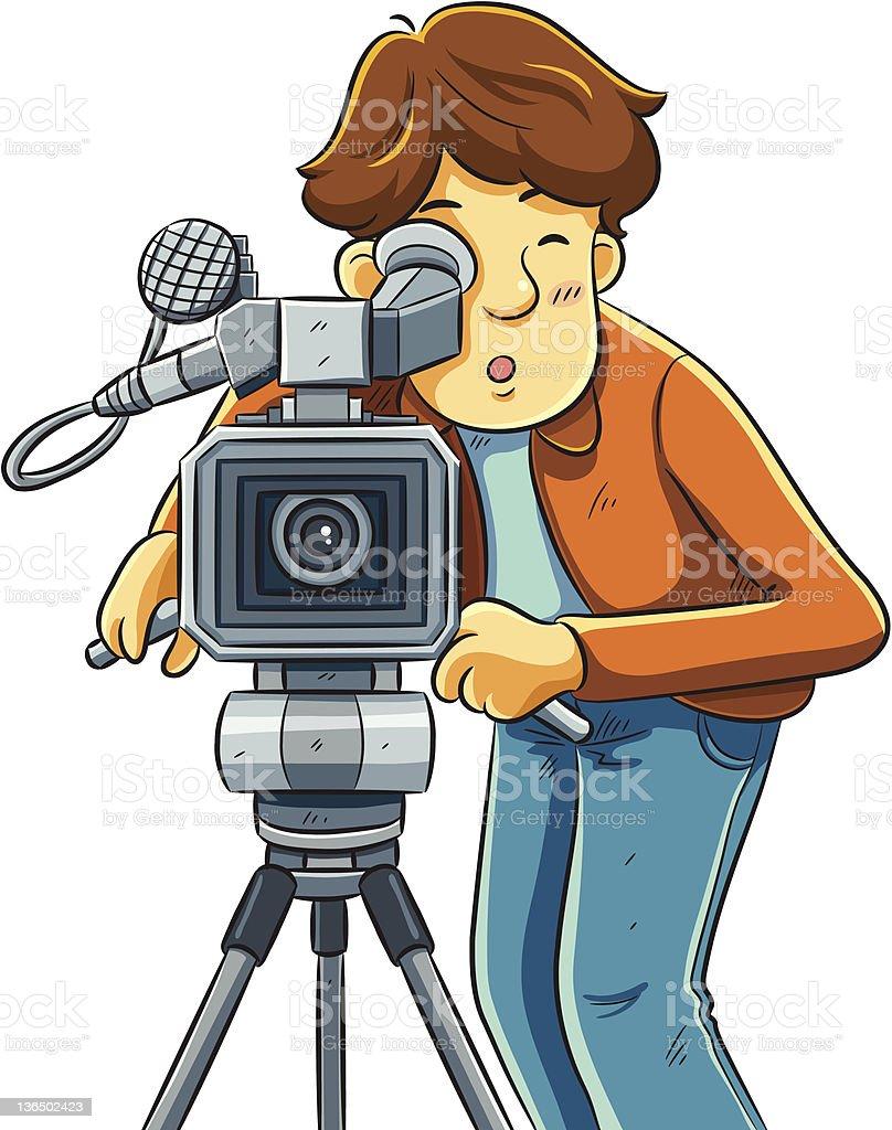 Cameraman Shoot The Cinema with Movie Camera vector art illustration