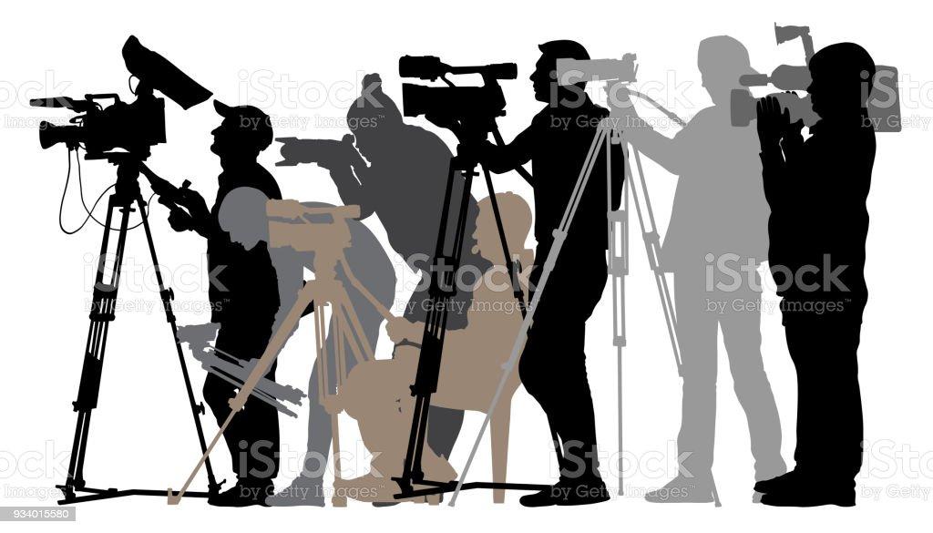 Periodistas de silueta camarógrafo - ilustración de arte vectorial