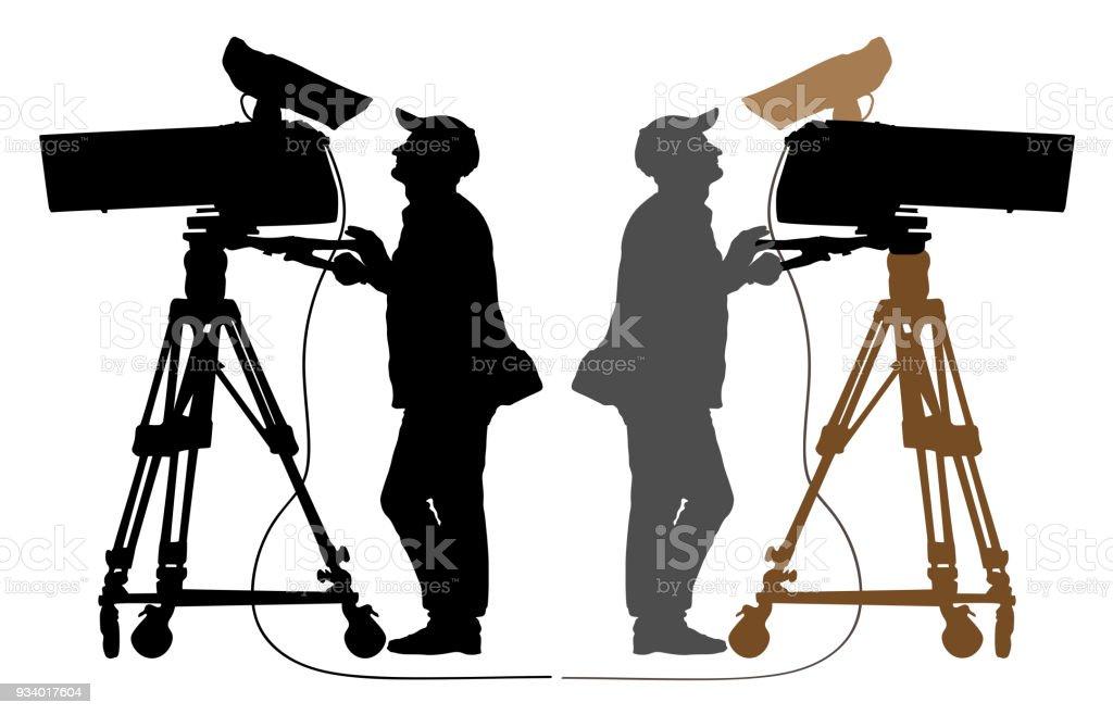 Cameraman silhouette, TV Camera vector art illustration