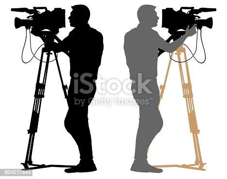 Cameraman silhouette. Video operator white background