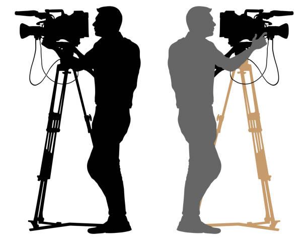 cameraman silhouette. video operator white background - fotografika stock illustrations