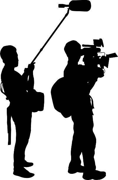 stockillustraties, clipart, cartoons en iconen met cameraman - journaal presentator