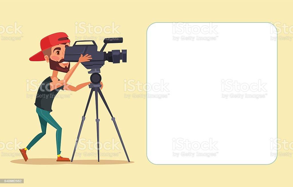 Cameraman with movie camera. Vector flat cartoon illustration vector art illustration