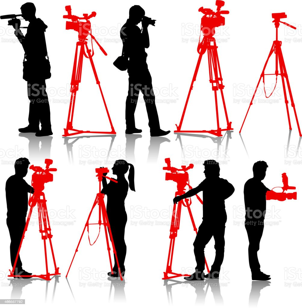 Cameraman with video camera. Silhouettes o vector art illustration