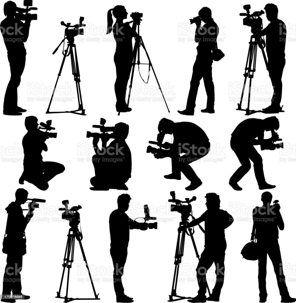 Cameraman with video camera. vector art illustration