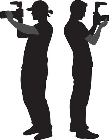 Cameramen Holding Cameras Silhouettes